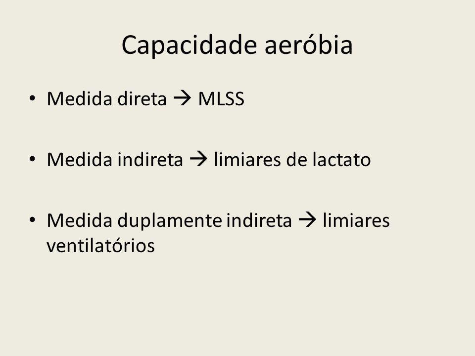 Capacidade aeróbia • Medida direta  MLSS • Medida indireta  limiares de lactato • Medida duplamente indireta  limiares ventilatórios