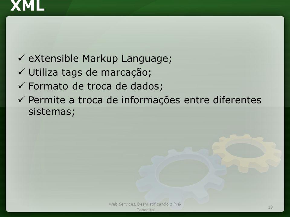 XML  eXtensible Markup Language;  Utiliza tags de marcação;  Formato de troca de dados;  Permite a troca de informações entre diferentes sistemas; Web Services, Desmistificando o Pré- Conceito 10