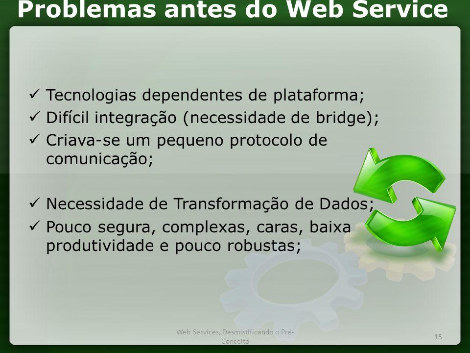 Problemas antes do Web Service  Tecnologias dependentes de plataforma;  Difícil integração (necessidade de bridge);  Criava-se um pequeno protocolo de comunicação;  Necessidade de Transformação de Dados;  Pouco segura, complexas, caras, baixa produtividade e pouco robustas; 15 Web Services, Desmistificando o Pré- Conceito