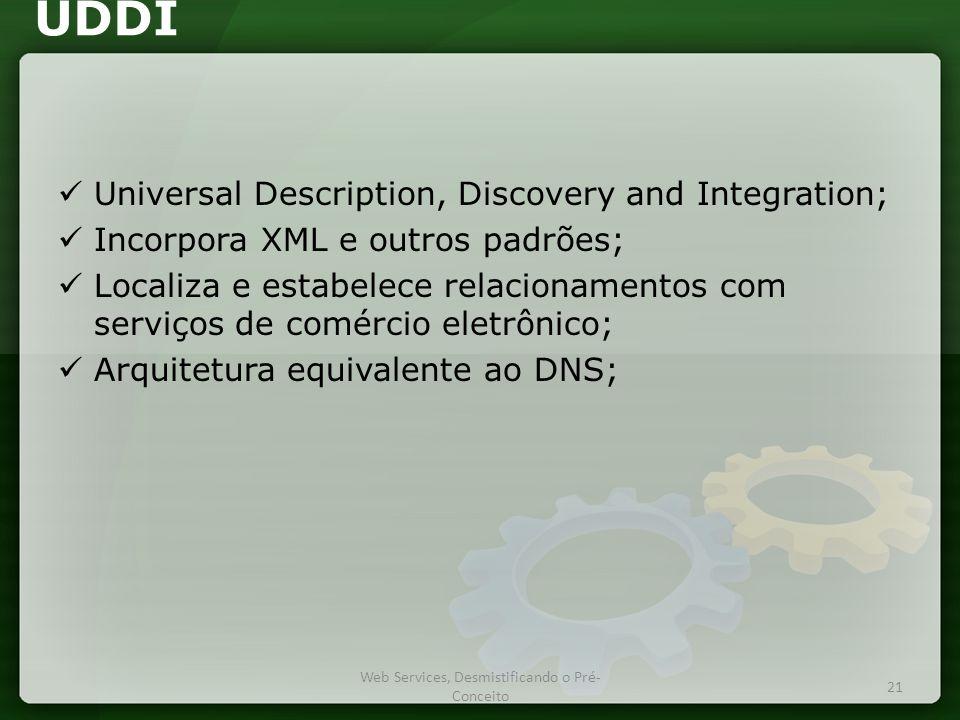 UDDI  Universal Description, Discovery and Integration;  Incorpora XML e outros padrões;  Localiza e estabelece relacionamentos com serviços de comércio eletrônico;  Arquitetura equivalente ao DNS; Web Services, Desmistificando o Pré- Conceito 21