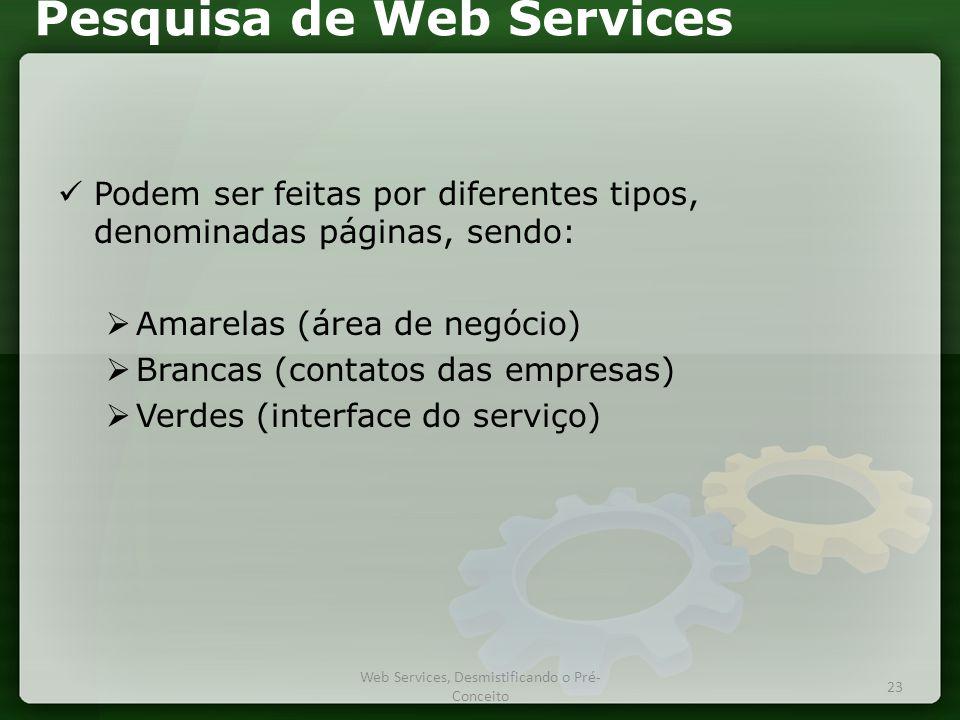 Pesquisa de Web Services  Podem ser feitas por diferentes tipos, denominadas páginas, sendo:  Amarelas (área de negócio)  Brancas (contatos das empresas)  Verdes (interface do serviço) Web Services, Desmistificando o Pré- Conceito 23
