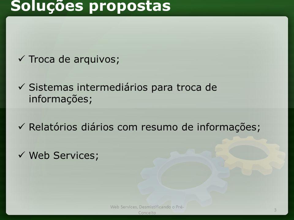 Soluções propostas  Troca de arquivos;  Sistemas intermediários para troca de informações;  Relatórios diários com resumo de informações;  Web Services; Web Services, Desmistificando o Pré- Conceito 3