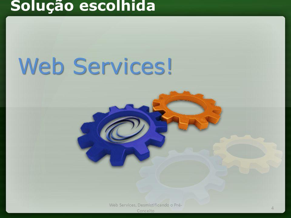 Solução escolhida Web Services! Web Services, Desmistificando o Pré- Conceito 4