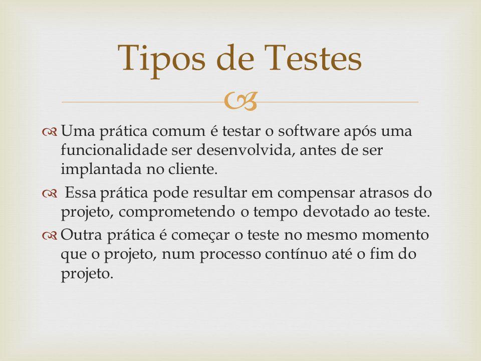   Uma prática comum é testar o software após uma funcionalidade ser desenvolvida, antes de ser implantada no cliente.  Essa prática pode resultar e