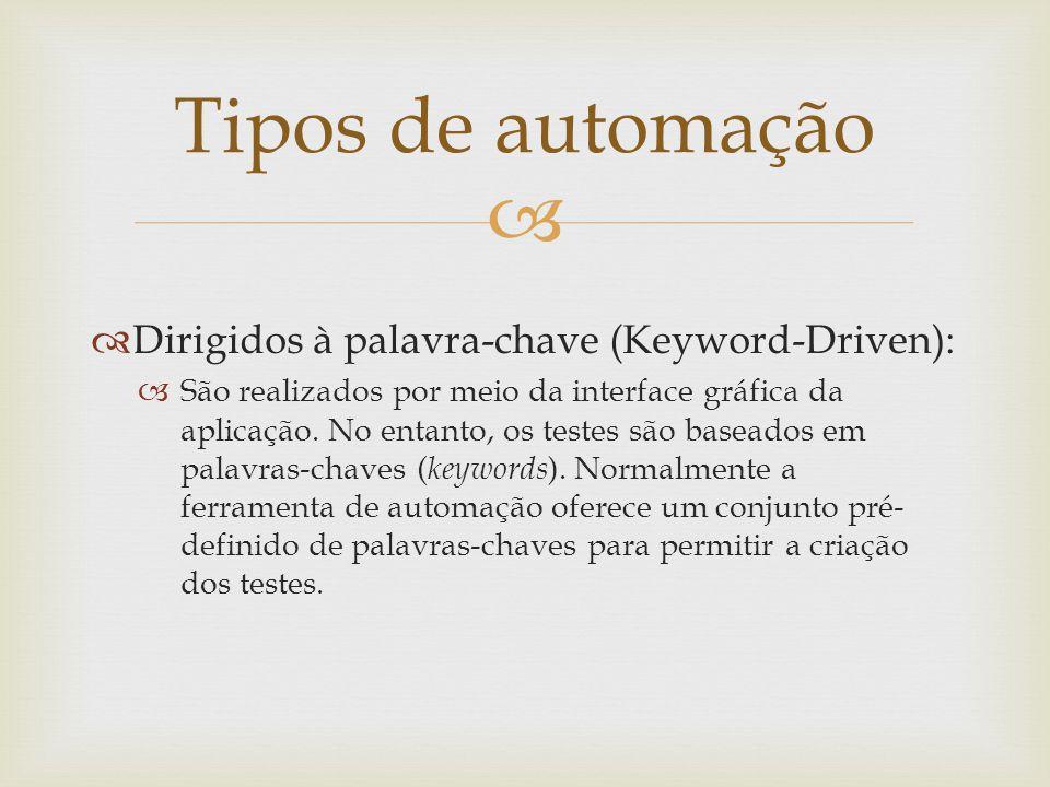   Dirigidos à palavra-chave (Keyword-Driven):  São realizados por meio da interface gráfica da aplicação. No entanto, os testes são baseados em pal