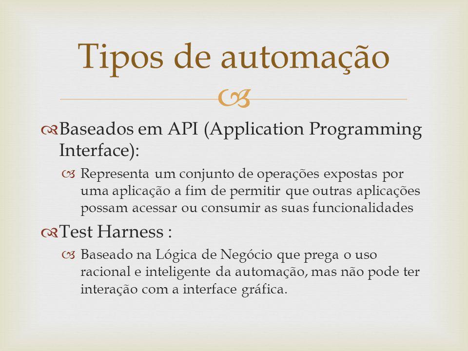   Baseados em API (Application Programming Interface):  Representa um conjunto de operações expostas por uma aplicação a fim de permitir que outras
