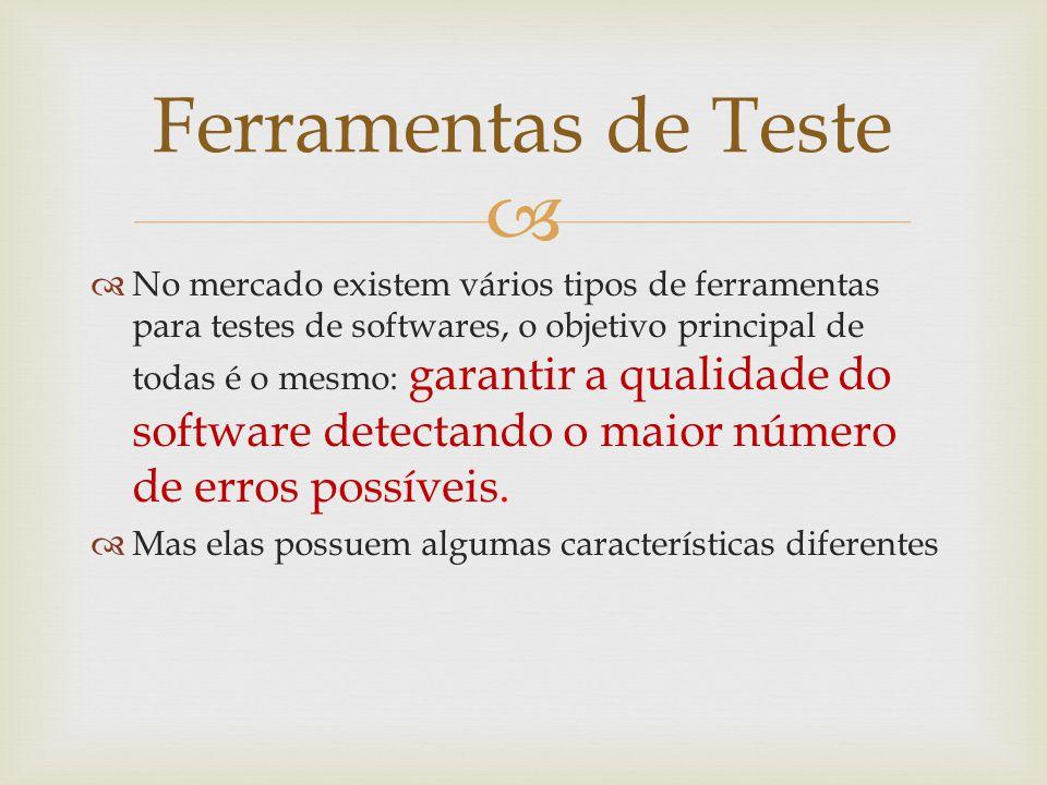   No mercado existem vários tipos de ferramentas para testes de softwares, o objetivo principal de todas é o mesmo: garantir a qualidade do software