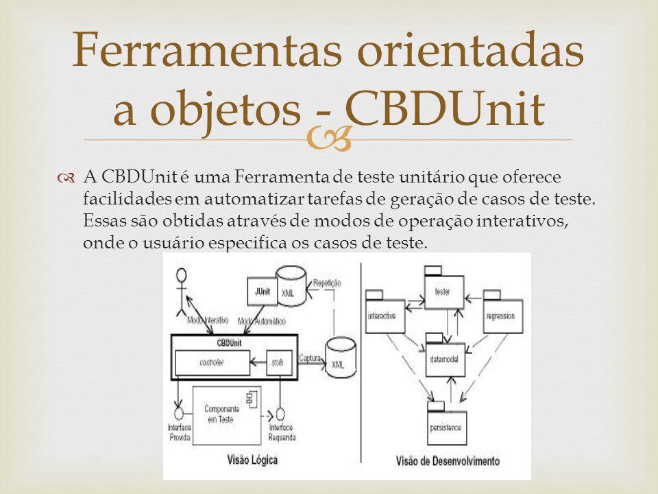   A CBDUnit é uma Ferramenta de teste unitário que oferece facilidades em automatizar tarefas de geração de casos de teste. Essas são obtidas atravé