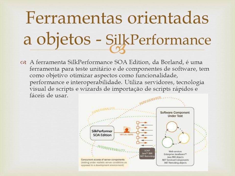   A ferramenta SilkPerformance SOA Edition, da Borland, é uma ferramenta para teste unitário e de componentes de software, tem como objetivo otimiza