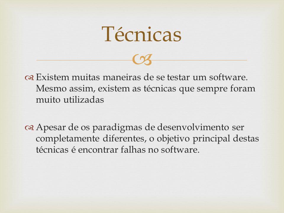   Existem muitas maneiras de se testar um software. Mesmo assim, existem as técnicas que sempre foram muito utilizadas  Apesar de os paradigmas de