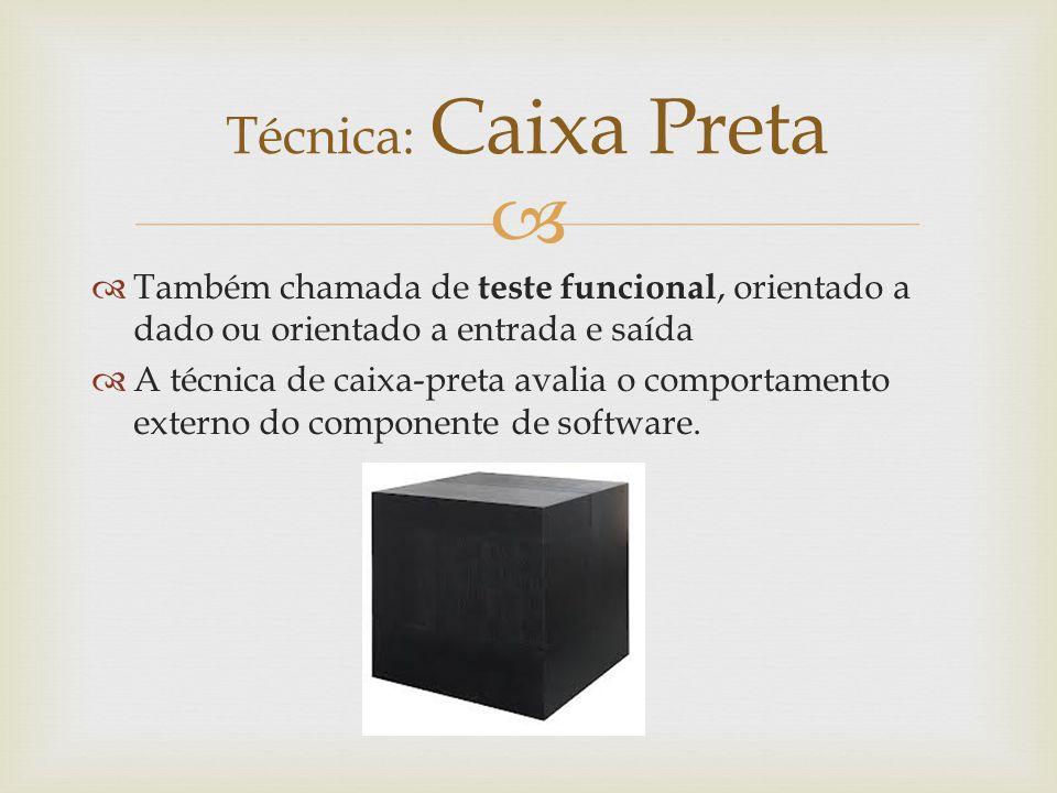   Também chamada de teste funcional, orientado a dado ou orientado a entrada e saída  A técnica de caixa-preta avalia o comportamento externo do co