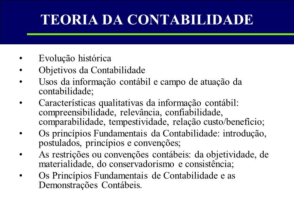 TEORIA DA CONTABILIDADE •Evolução histórica •Objetivos da Contabilidade •Usos da informação contábil e campo de atuação da contabilidade; •Característ