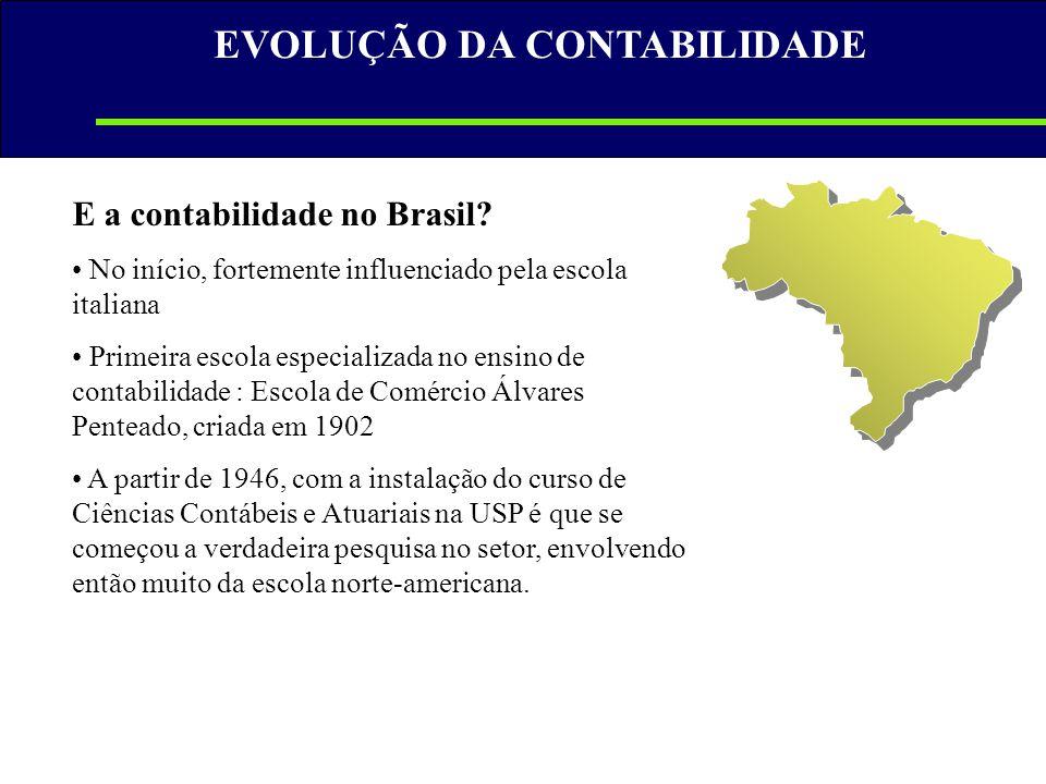 E a contabilidade no Brasil? • No início, fortemente influenciado pela escola italiana • Primeira escola especializada no ensino de contabilidade : Es