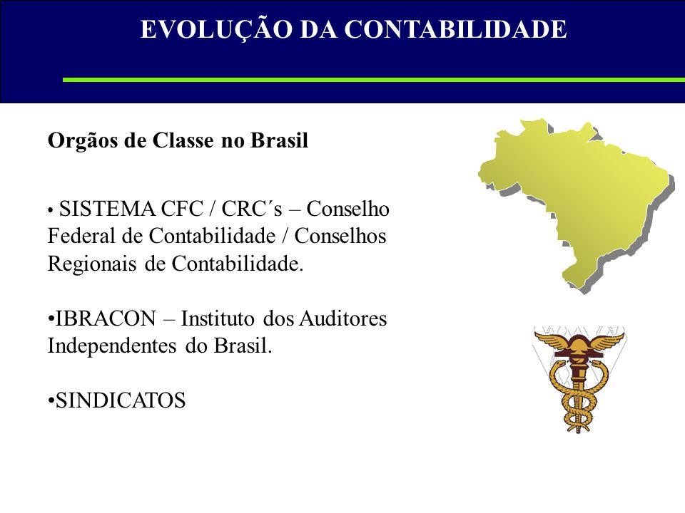 Orgãos de Classe no Brasil • SISTEMA CFC / CRC´s – Conselho Federal de Contabilidade / Conselhos Regionais de Contabilidade. •IBRACON – Instituto dos