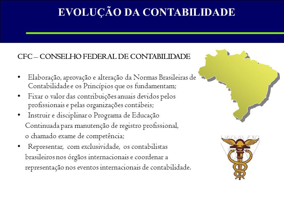 CFC – CONSELHO FEDERAL DE CONTABILIDADE •Elaboração, aprovação e alteração da Normas Brasileiras de Contabilidade e os Princípios que os fundamentam;