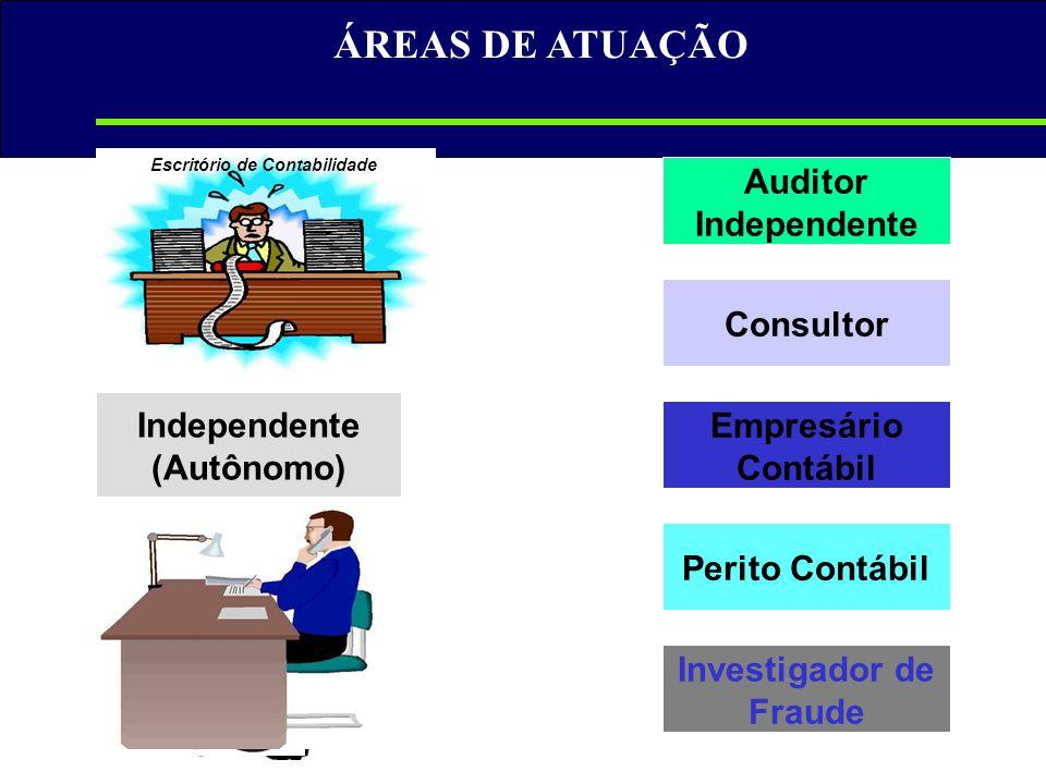 ÁREAS DE ATUAÇÃO Empresário Contábil Independente (Autônomo) Investigador de Fraude Auditor Independente Perito Contábil Consultor Escritório de Conta