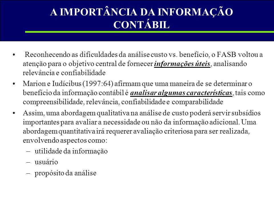 A IMPORTÂNCIA DA INFORMAÇÃO CONTÁBIL • Reconhecendo as dificuldades da análise custo vs. benefício, o FASB voltou a atenção para o objetivo central de