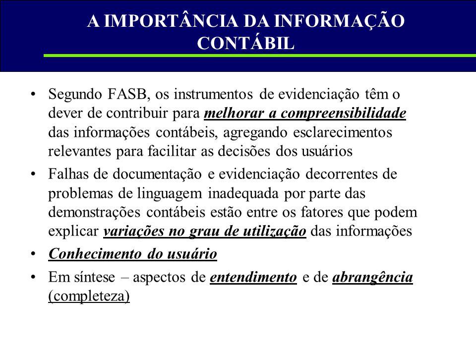 A IMPORTÂNCIA DA INFORMAÇÃO CONTÁBIL •Segundo FASB, os instrumentos de evidenciação têm o dever de contribuir para melhorar a compreensibilidade das i