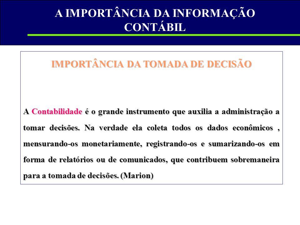 A IMPORTÂNCIA DA INFORMAÇÃO CONTÁBIL IMPORTÂNCIA DA TOMADA DE DECISÃO A Contabilidade é o grande instrumento que auxilia a administração a tomar decis