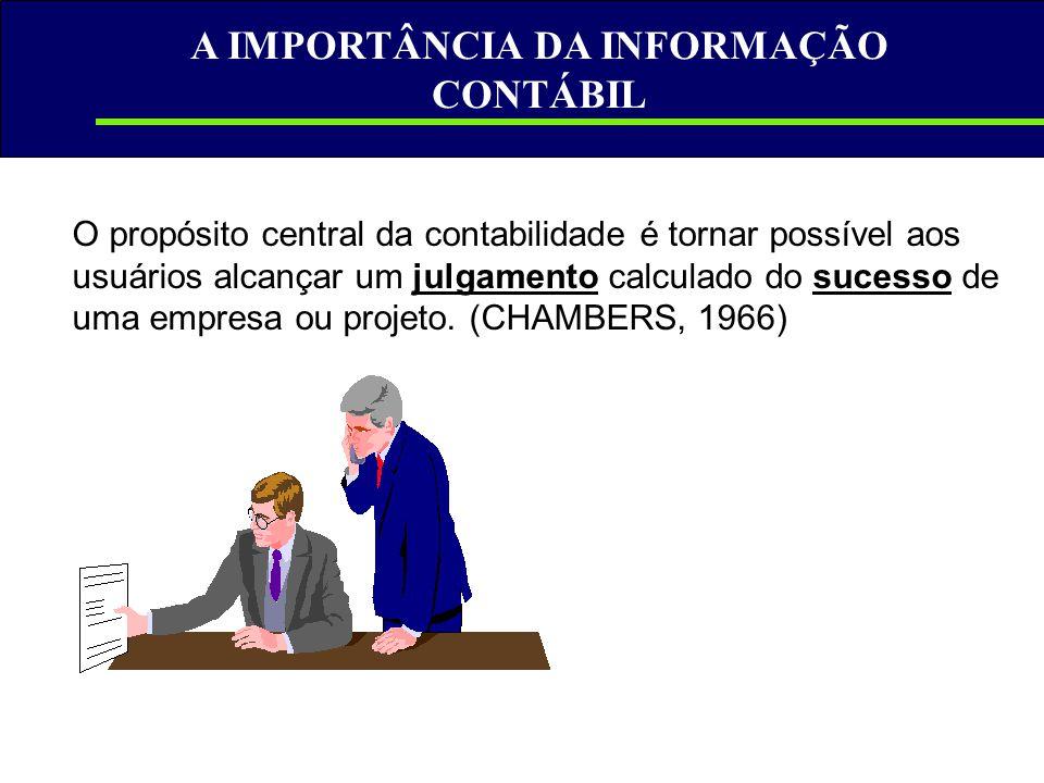 A IMPORTÂNCIA DA INFORMAÇÃO CONTÁBIL O propósito central da contabilidade é tornar possível aos usuários alcançar um julgamento calculado do sucesso d