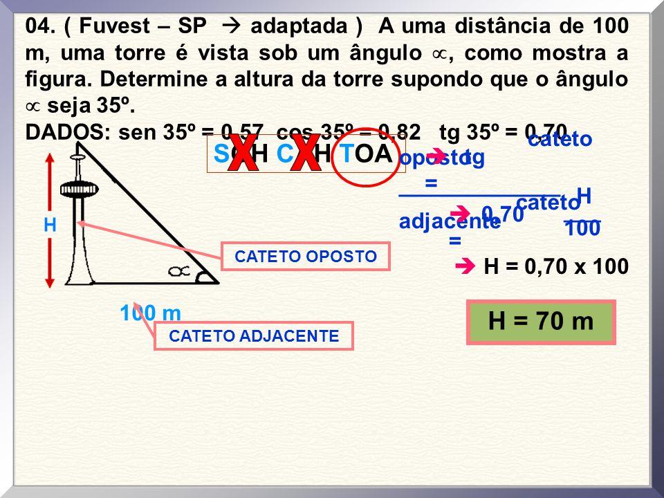 04. ( Fuvest – SP  adaptada ) A uma distância de 100 m, uma torre é vista sob um ângulo , como mostra a figura. Determine a altura da torre supondo