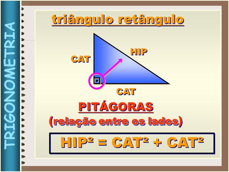 TRIGONOMETRIA HIP CAT triângulo retângulo PITÁGORAS relação entre os lados ( relação entre os lados ) PITÁGORAS relação entre os lados ( relação entre os lados ) HIP² = CAT² + CAT²