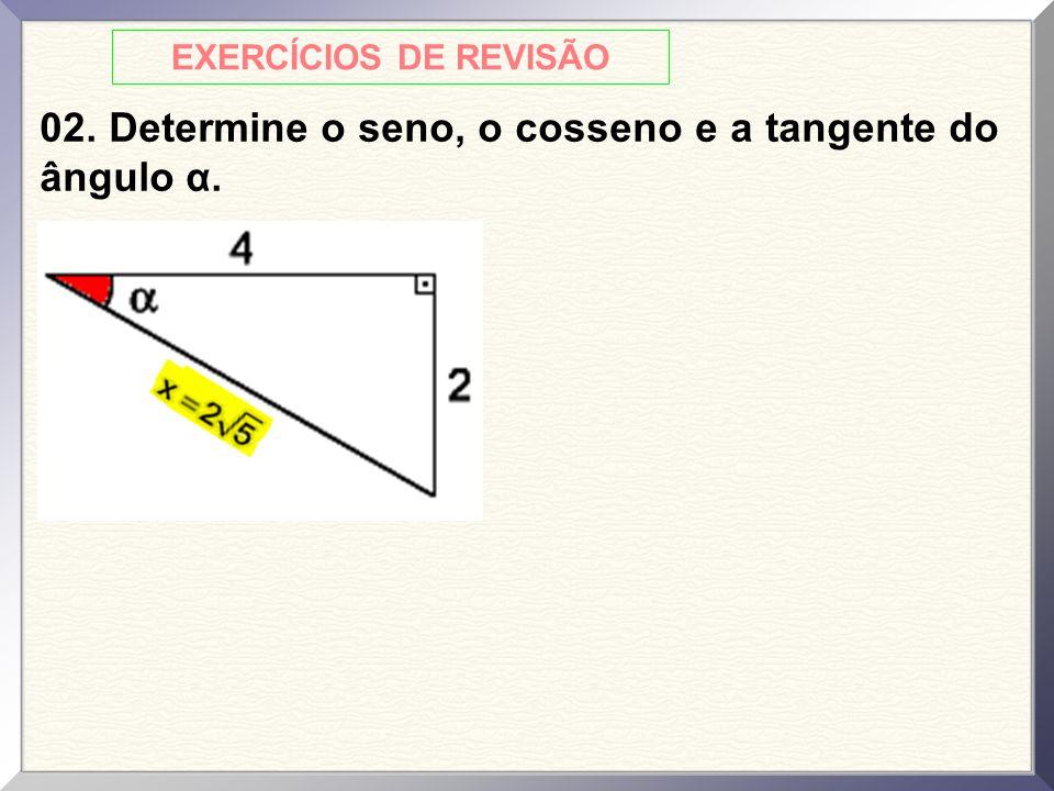EXERCÍCIOS DE REVISÃO 02. Determine o seno, o cosseno e a tangente do ângulo α.