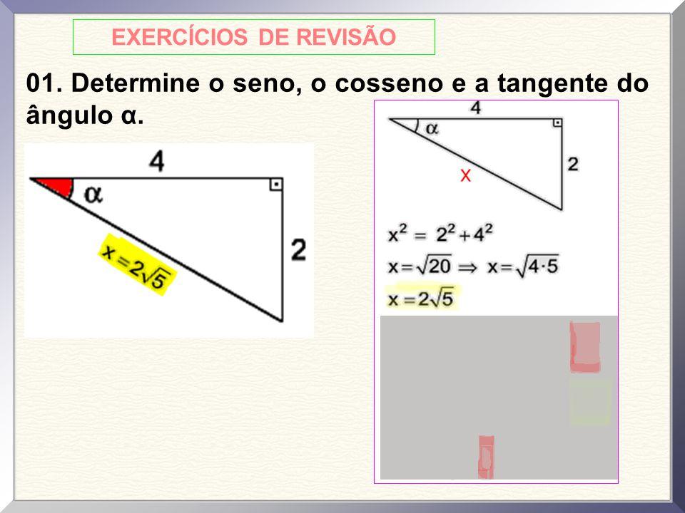 EXERCÍCIOS DE REVISÃO 01. Determine o seno, o cosseno e a tangente do ângulo α.