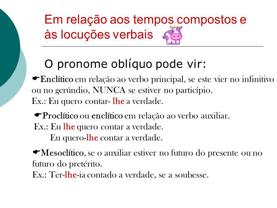 Em relação aos tempos compostos e às locuções verbais O pronome oblíquo pode vir:  Enclítico em relação ao verbo principal, se este vier no infinitivo ou no gerúndio, NUNCA se estiver no particípio.