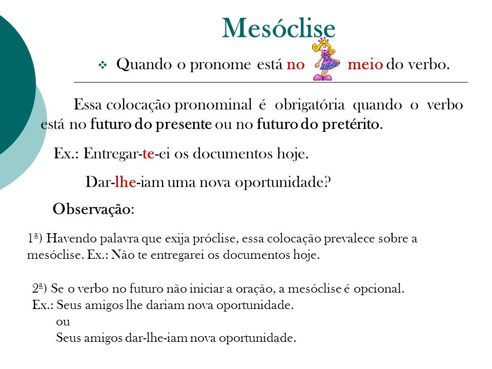 Mesóclise  Quando o pronome está no meio do verbo.