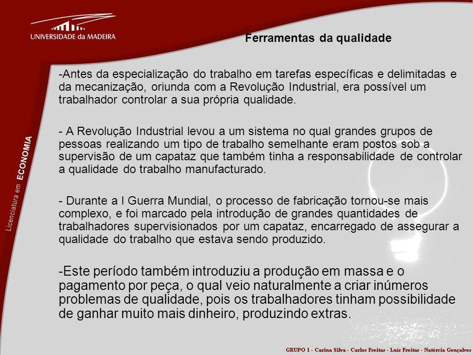 Ferramentas da qualidade -Antes da especialização do trabalho em tarefas específicas e delimitadas e da mecanização, oriunda com a Revolução Industria