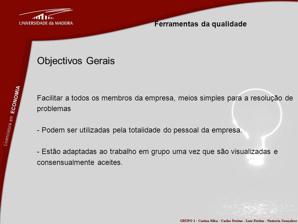 Ferramentas da qualidade Objectivos Gerais Facilitar a todos os membros da empresa, meios simples para a resolução de problemas - Podem ser utilizadas