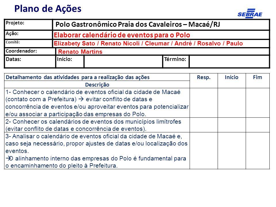 Projeto: Polo Gastronômico Praia dos Cavaleiros – Macaé/RJ Ação: Elaborar calendário de eventos para o Polo Comitê: Elizabety Sato / Renato Nicoli / C