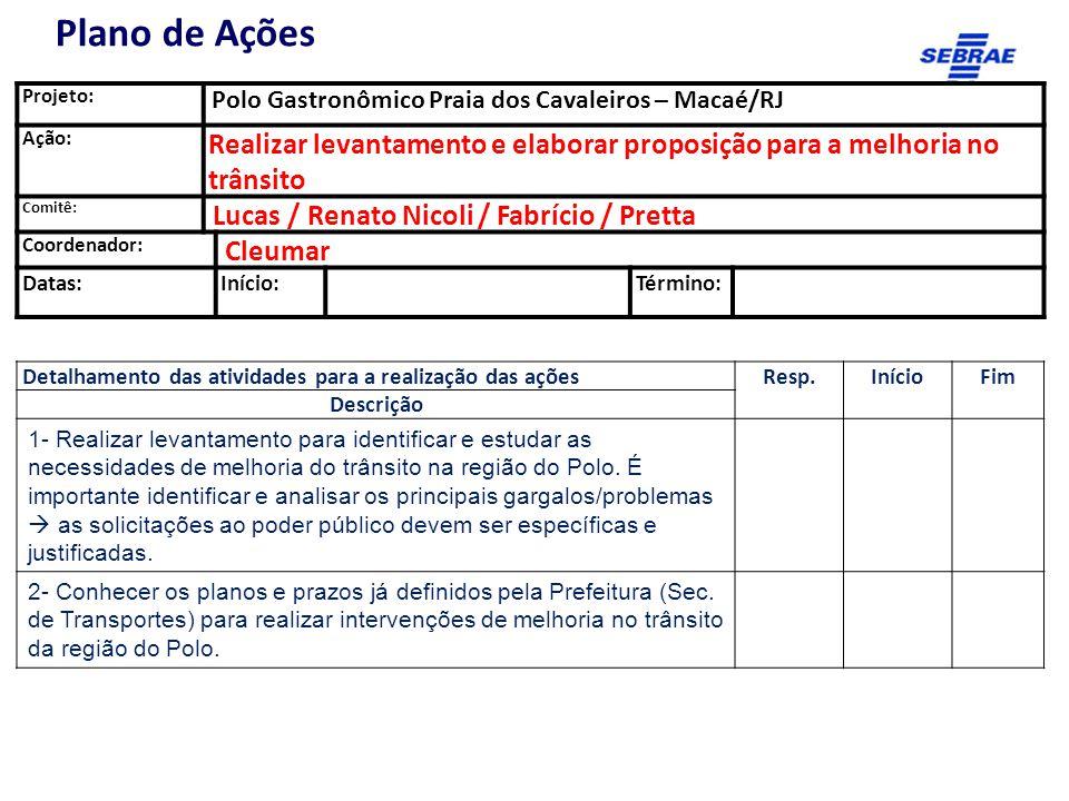 Projeto: Polo Gastronômico Praia dos Cavaleiros – Macaé/RJ Ação: Realizar levantamento e elaborar proposição para a melhoria no trânsito Comitê: Lucas