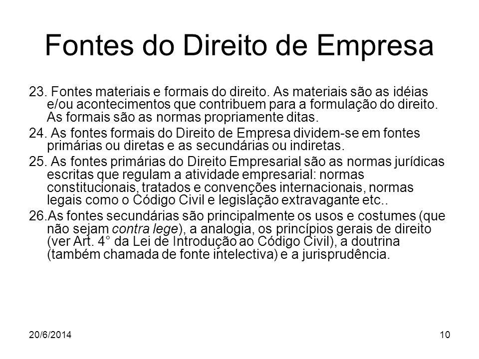 20/6/201410 Fontes do Direito de Empresa 23. Fontes materiais e formais do direito. As materiais são as idéias e/ou acontecimentos que contribuem para