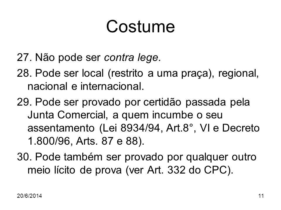 20/6/201411 Costume 27. Não pode ser contra lege. 28. Pode ser local (restrito a uma praça), regional, nacional e internacional. 29. Pode ser provado