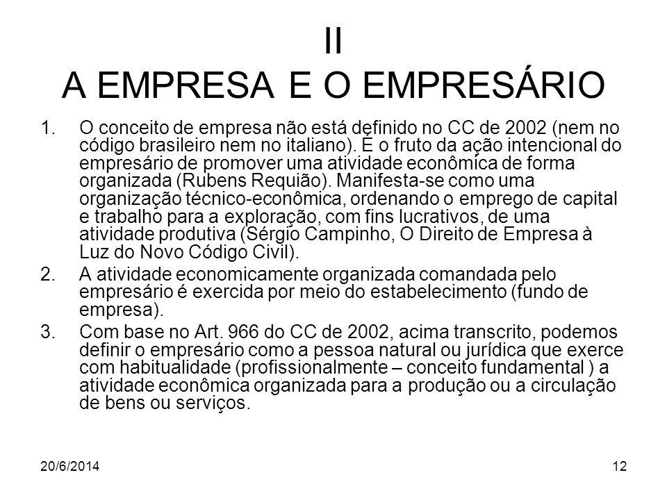 20/6/201412 II A EMPRESA E O EMPRESÁRIO 1.O conceito de empresa não está definido no CC de 2002 (nem no código brasileiro nem no italiano). É o fruto