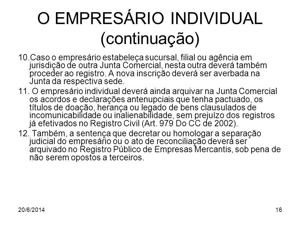 20/6/201416 O EMPRESÁRIO INDIVIDUAL (continuação) 10.Caso o empresário estabeleça sucursal, filial ou agência em jurisdição de outra Junta Comercial,