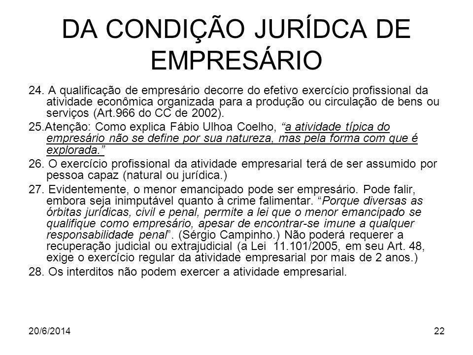 20/6/201422 DA CONDIÇÃO JURÍDCA DE EMPRESÁRIO 24. A qualificação de empresário decorre do efetivo exercício profissional da atividade econômica organi