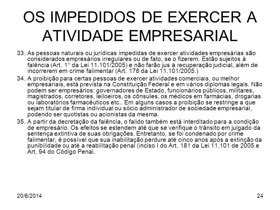 20/6/201424 OS IMPEDIDOS DE EXERCER A ATIVIDADE EMPRESARIAL 33. As pessoas naturais ou jurídicas impedidas de exercer atividades empresárias são consi