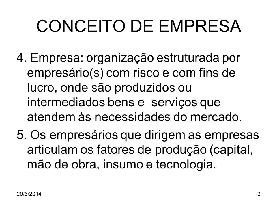 CONCEITO DE EMPRESA 4. Empresa: organização estruturada por empresário(s) com risco e com fins de lucro, onde são produzidos ou intermediados bens e s