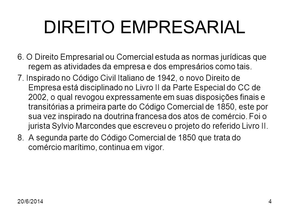 DIREITO EMPRESARIAL 6. O Direito Empresarial ou Comercial estuda as normas jurídicas que regem as atividades da empresa e dos empresários como tais. 7