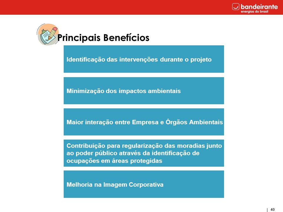 40 Principais Benefícios Minimização dos impactos ambientais Maior interação entre Empresa e Órgãos Ambientais Contribuição para regularização das mor