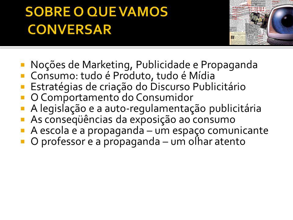  Noções de Marketing, Publicidade e Propaganda  Consumo: tudo é Produto, tudo é Mídia  Estratégias de criação do Discurso Publicitário  O Comporta