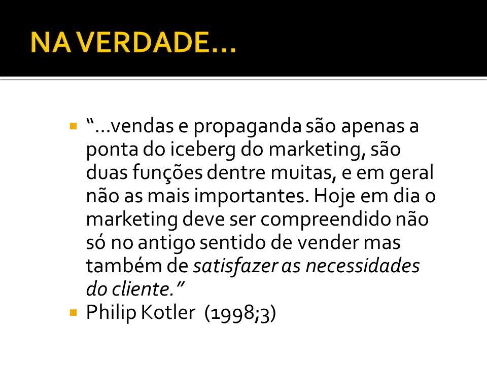 """ """"...vendas e propaganda são apenas a ponta do iceberg do marketing, são duas funções dentre muitas, e em geral não as mais importantes. Hoje em dia"""