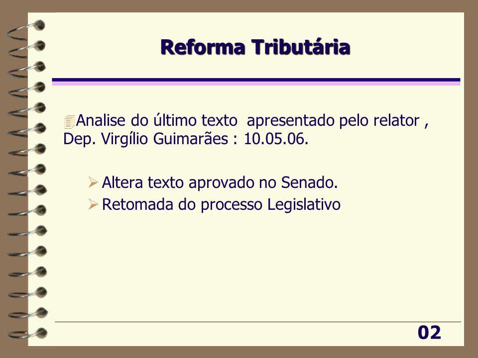 Reforma Tributária 4 Analise do último texto apresentado pelo relator, Dep.