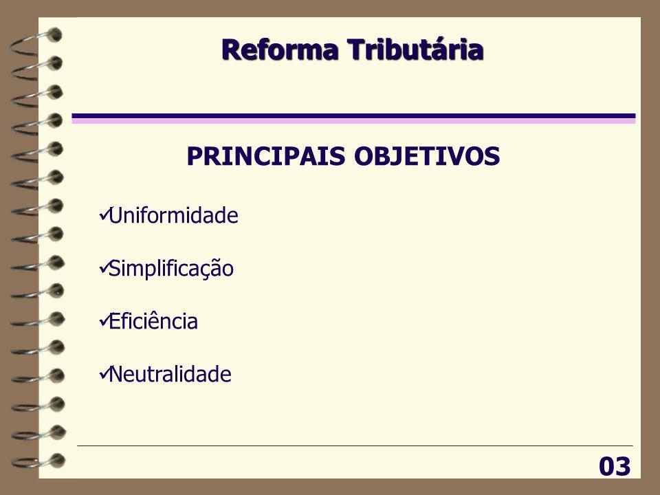 Reforma Tributária 03 PRINCIPAIS OBJETIVOS  Uniformidade  Simplificação  Eficiência  Neutralidade