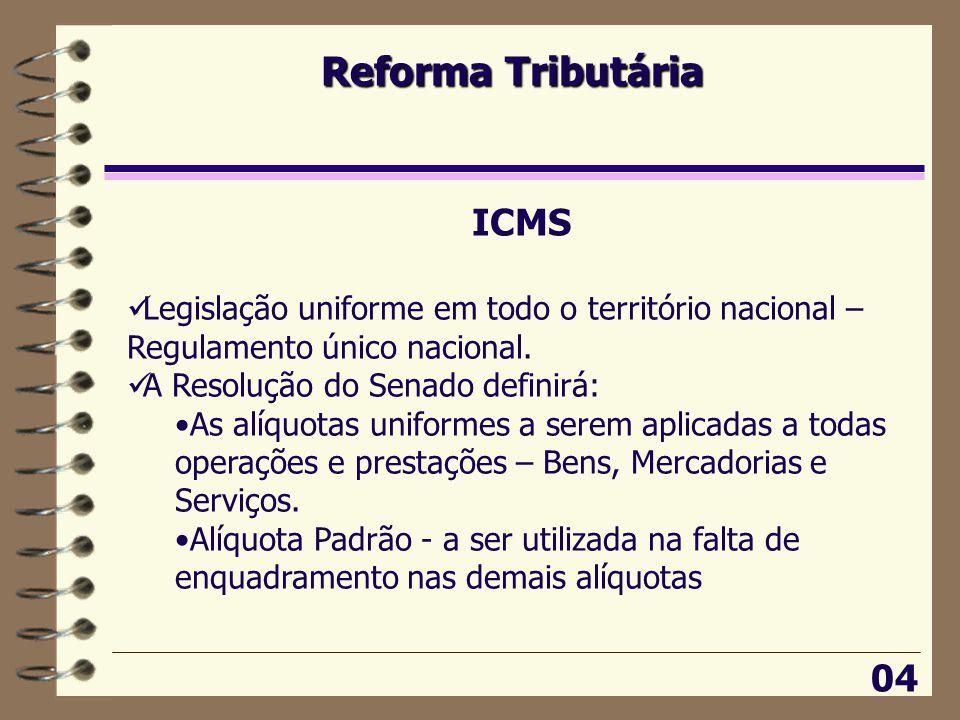 Reforma Tributária 04 ICMS  Legislação uniforme em todo o território nacional – Regulamento único nacional.