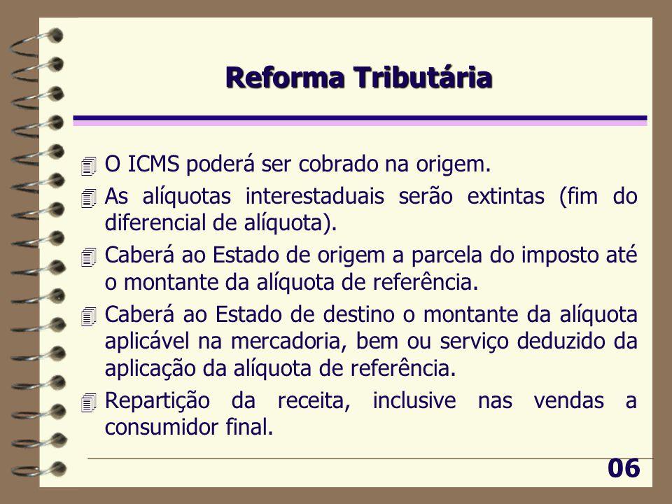 Reforma Tributária 4 O ICMS poderá ser cobrado na origem.