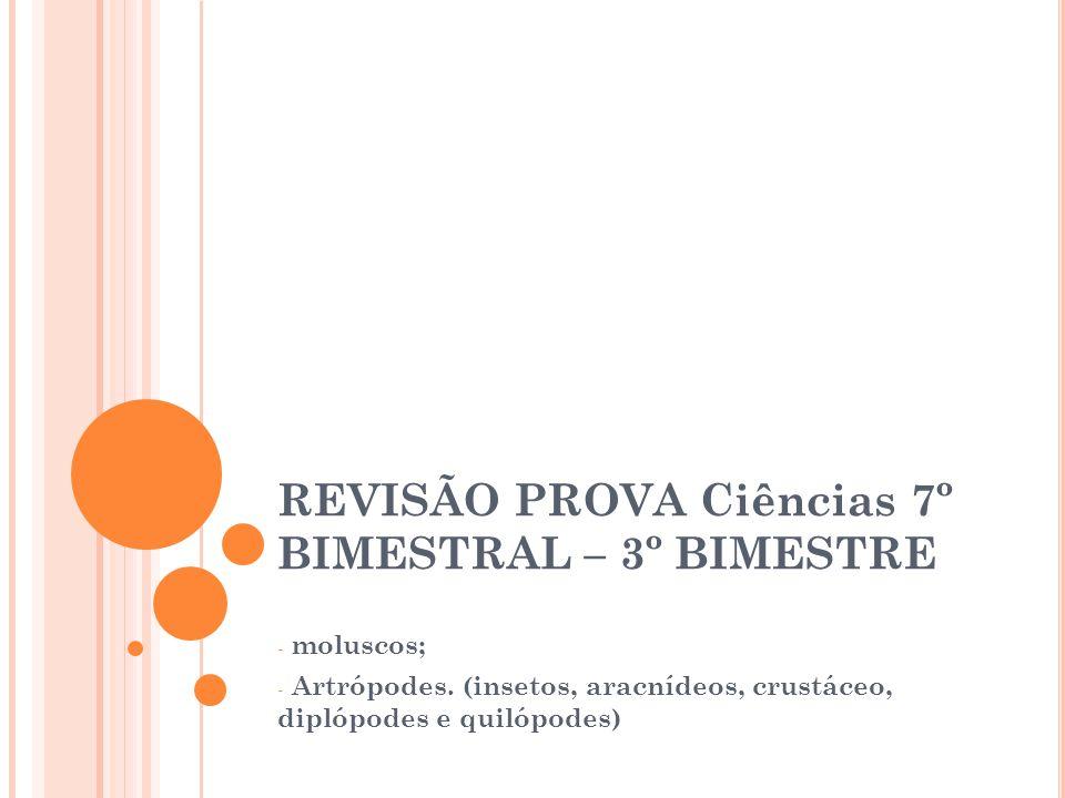 REVISÃO PROVA Ciências 7º BIMESTRAL – 3º BIMESTRE - moluscos; - Artrópodes. (insetos, aracnídeos, crustáceo, diplópodes e quilópodes)